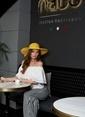Laslusa İçten Ayarlanabilir Hasır Puantiyeli Geniş Kenar Şapka Sarı